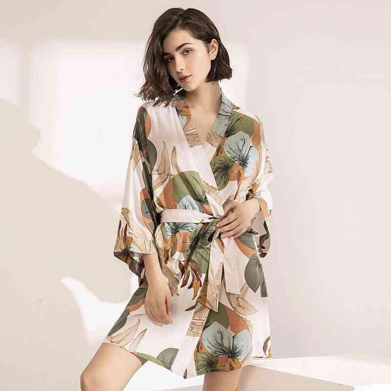 Women Silk Satin Thin Robe Comfort Floral Printed Sleepwear Nightgown
