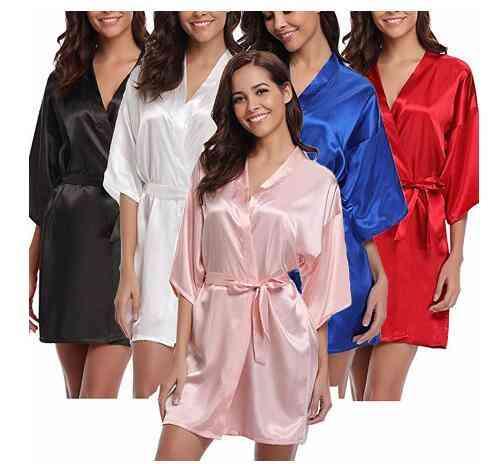 Satin Kimono, Bride Bathrobe Nightgown, Sleepwear