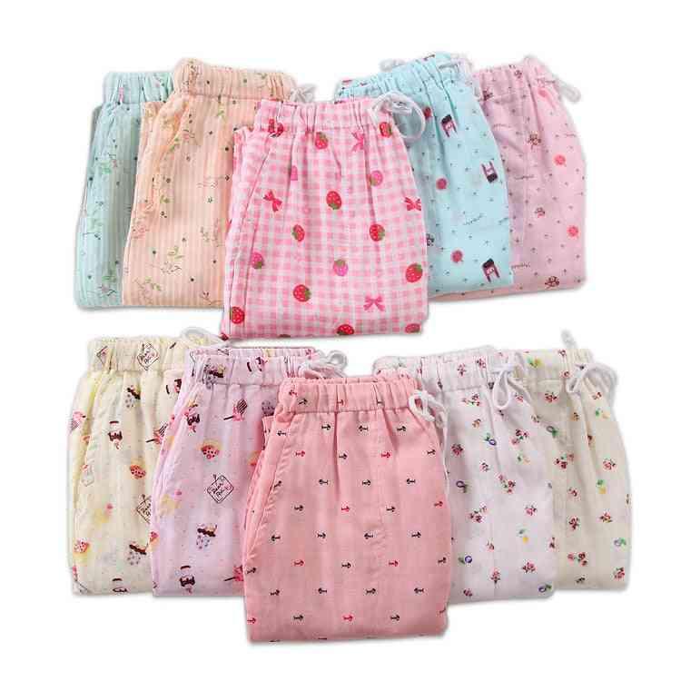 Gauze Cotton, Bottoms Casual Pajamas, Sleepwear Trousers