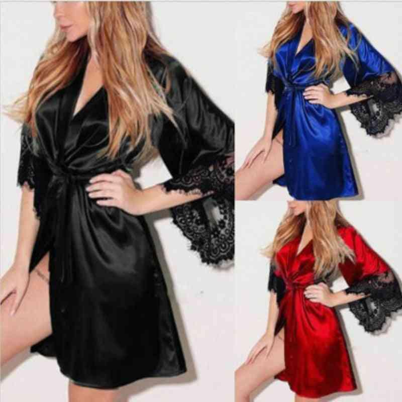 Summer Robes Kimono, Satin Lace, Nightwear Gown Sleepwear