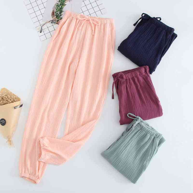 Cotton Gauze Crepe Sleep Bottoms Pajama / Shorts Pants