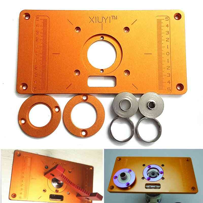 Aluminum Router Table Insert Plate, W/ Bushing Ring Screw For Wood Trimming Machine