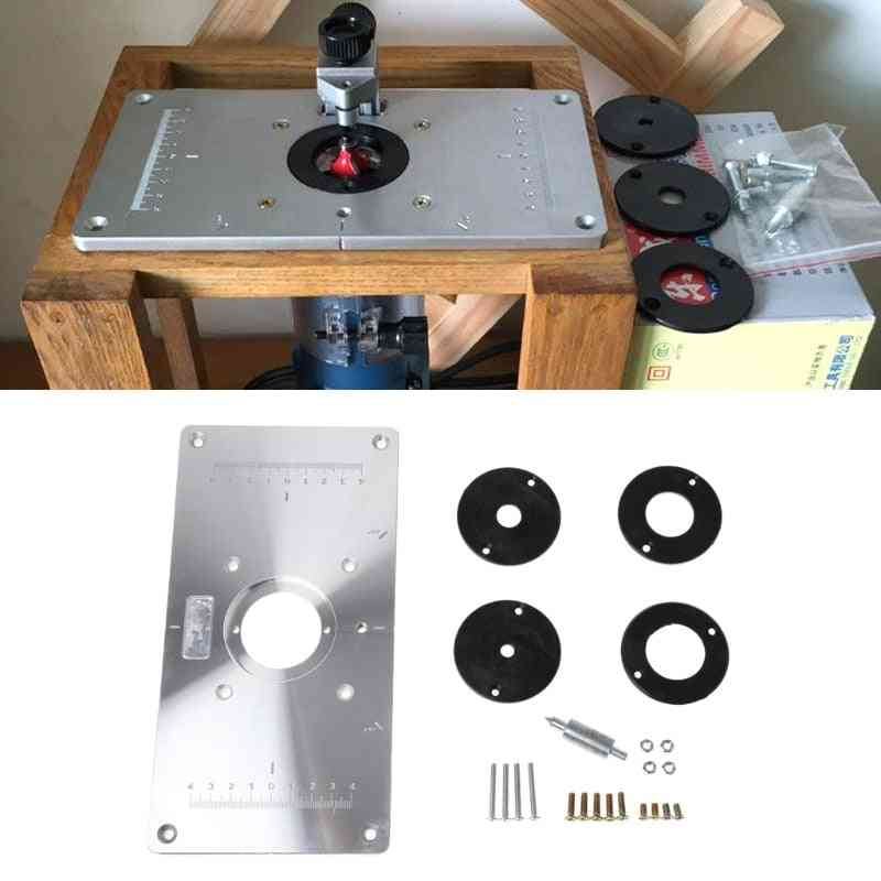 Aluminum Router Table Insert Plate, W/ 4 Rings For Woodworking Benches