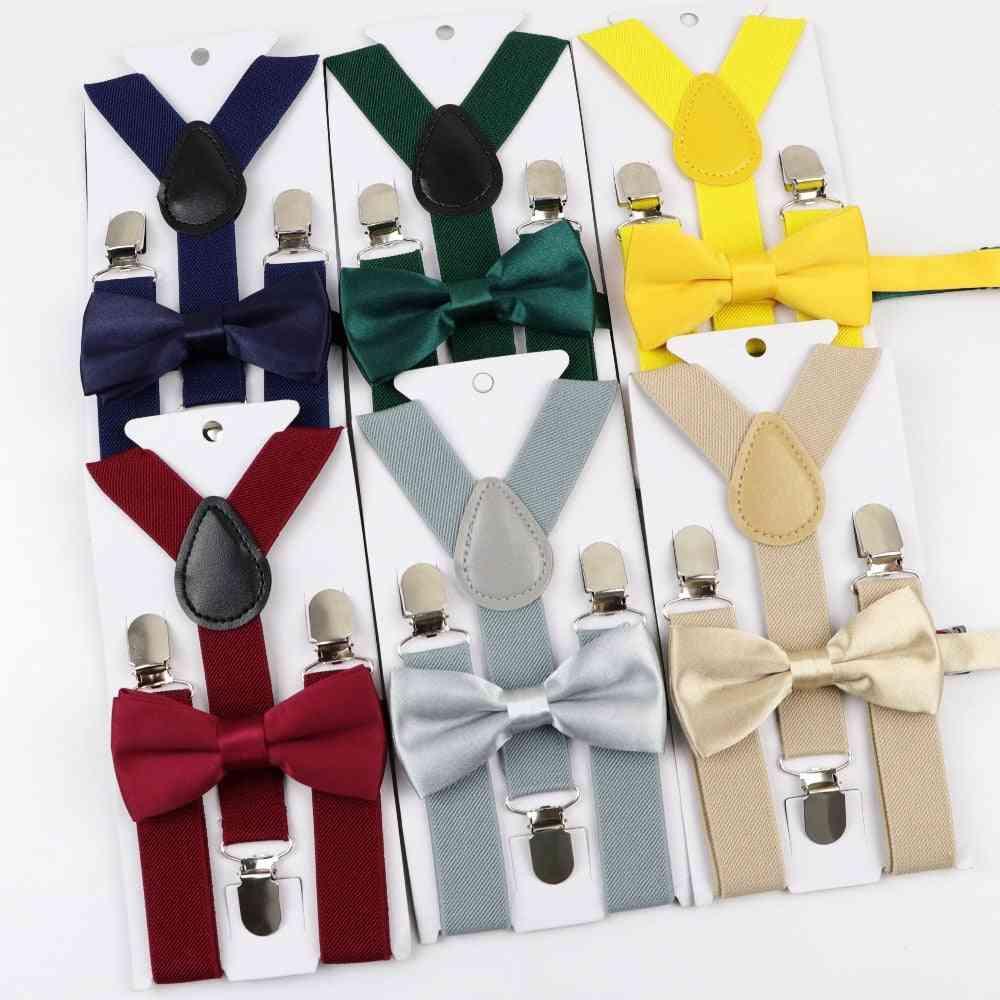Baby, Adjustable Suspenders, Clip-on Y-back Braces, Bow Tie