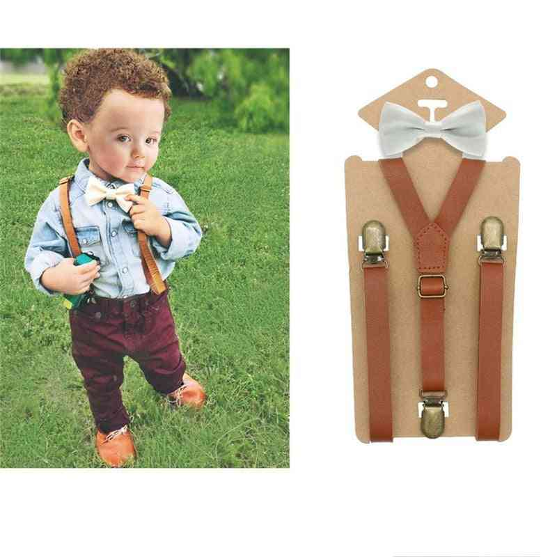 3 Clips Y-back Tan Leather Suspender And Ring Bearer Bow Tie Set