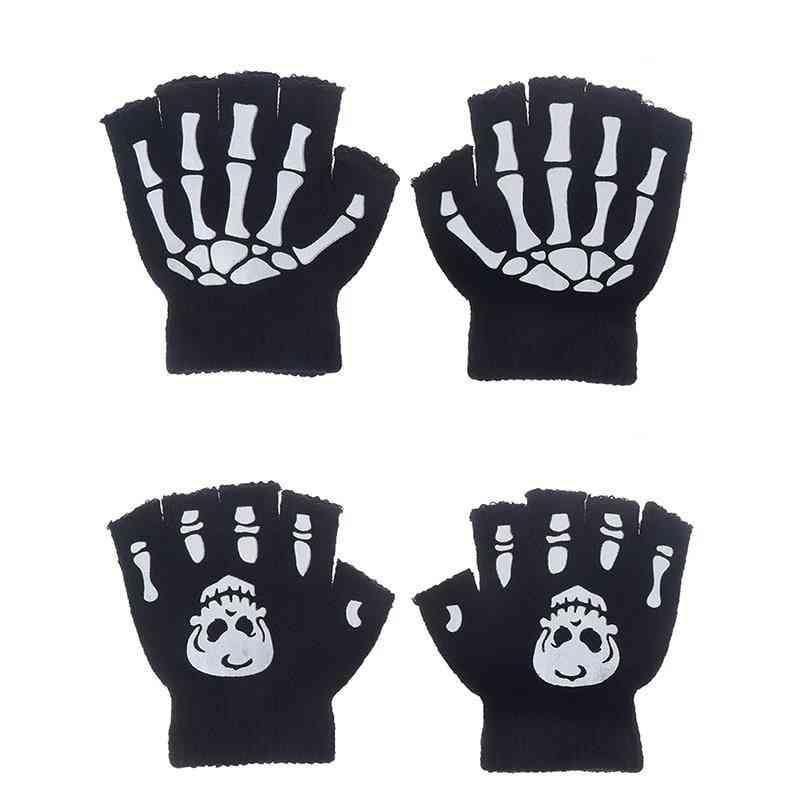 Cool Fluorescent Skeleton Mittens Skull Fashion Winter Gloves