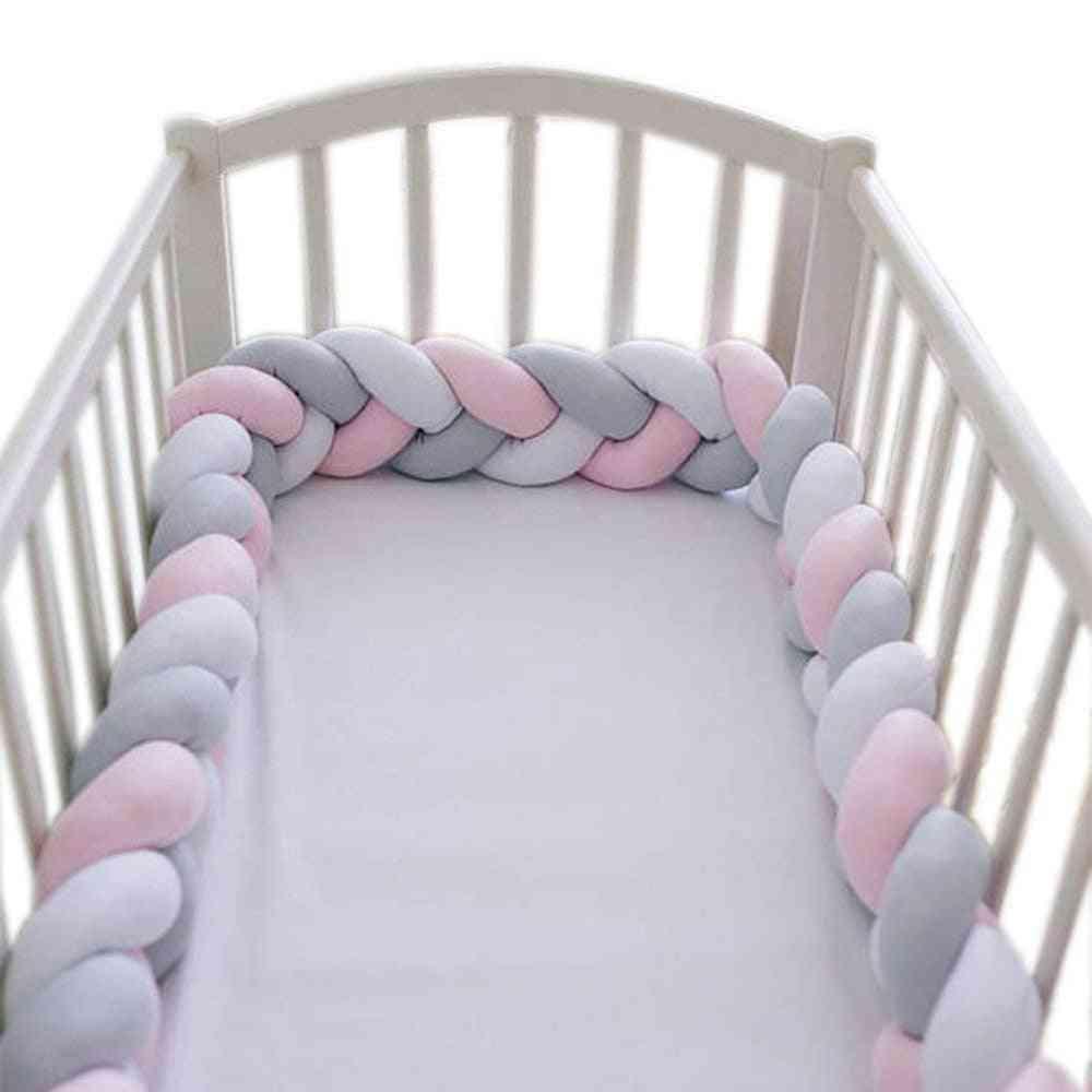 Baby Crib Bumper Plush Nursery Cradle Decor Knotted Braided Junior Bed Sleep