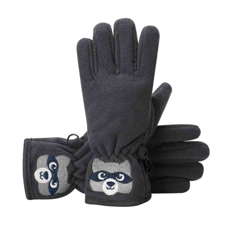 Winter Cartoon Bear Embroidered Anti-slip Windproof Thermal Outdoor Gloves