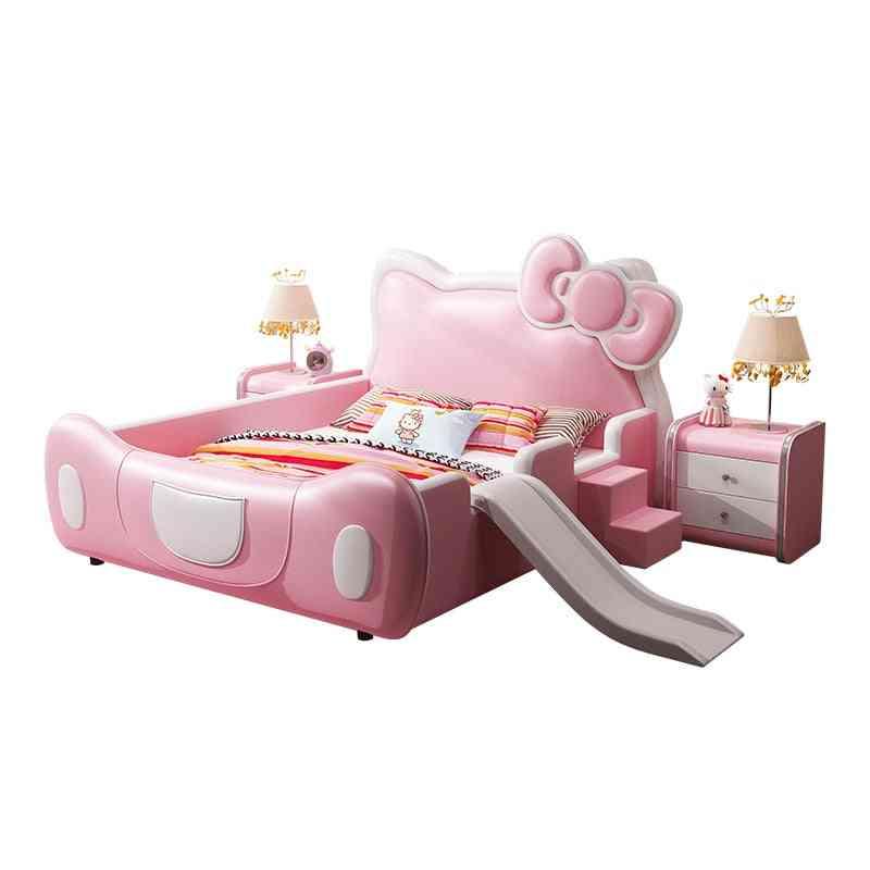 Cat Crib, Princess Fantasy Castle With Safe Guardrail Cartoon, Pink Slide Bed