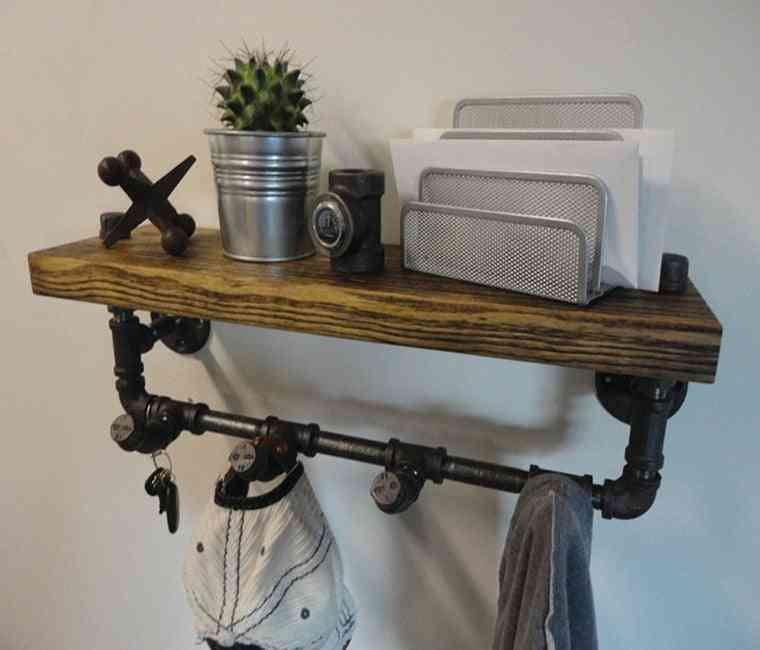 Water Pipe Rack, Iron Solid Wood Shelf
