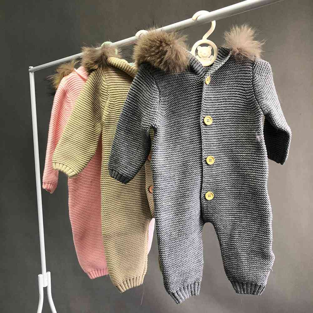 Baby Fur Collar Sweater, Cute Jumper For Toddler, Kid Jumpsuit