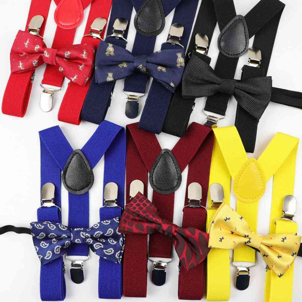 Children Belt Bow Tie Set, Suspenders Polyester Y-back Braces Adjustable Elastic