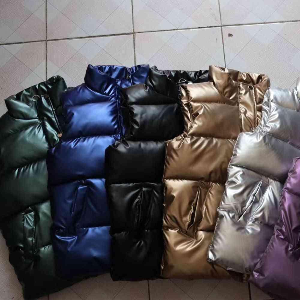 Autumn Waistcoat Glossy Bright/vest Winter Warm/sleeveless Jacket