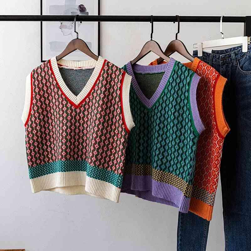 Vintage Argyle- Sweater Pullover Vest, Sleeveless Jacket