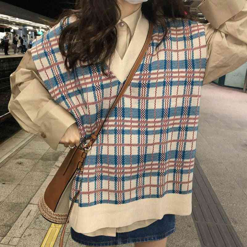 Korean Style- Plaid Loose Vests, Outwear Sleeveless, Jumper