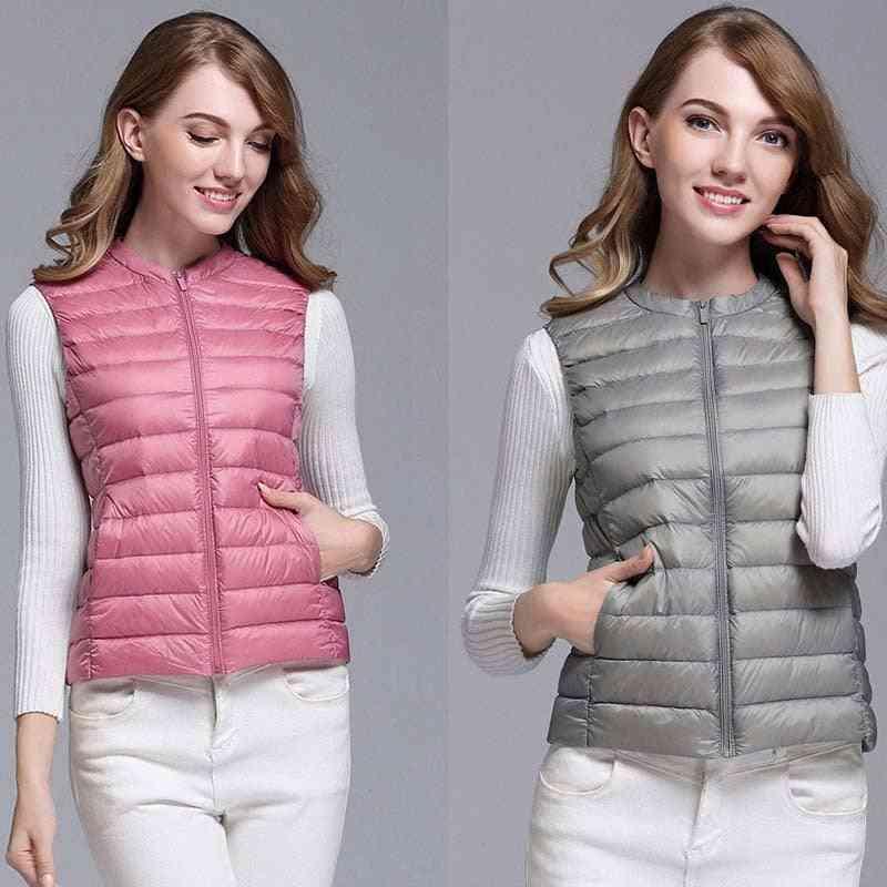 Autumn/winter- Duck-down, Short Sleeveless, Vest Jacket, Waistcoat