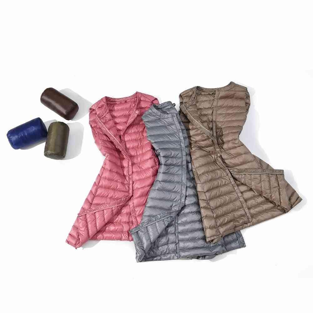 Ultra Light Down Women Long Vest Windproof Lightweight Warm Waistcoat