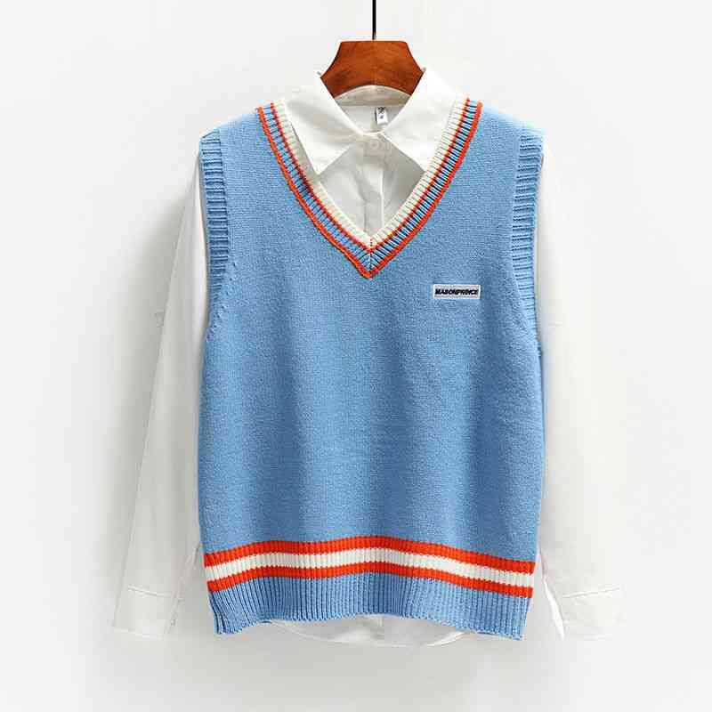 Women Patchwork Vest Embroidery Students V-neck Waistcoats