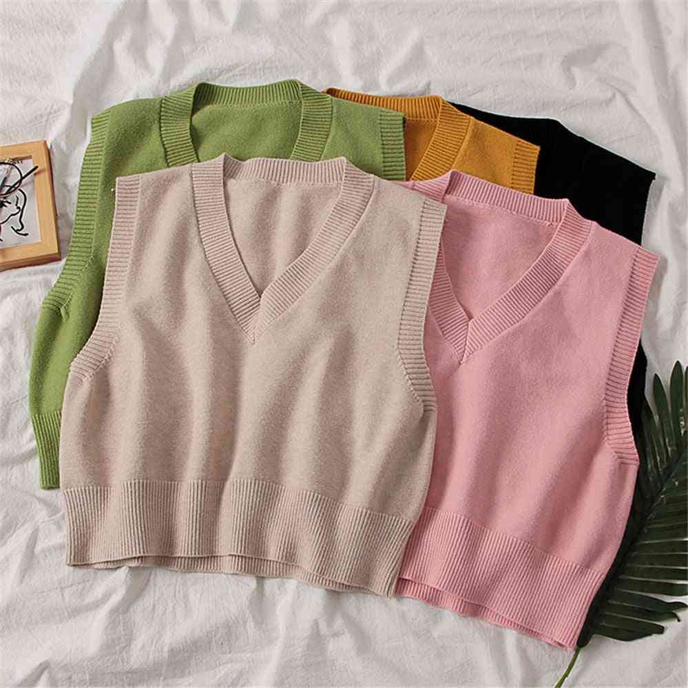 Autumn Women Sweater, Elegant V-neck, Pullover Tops Outerwear Vest