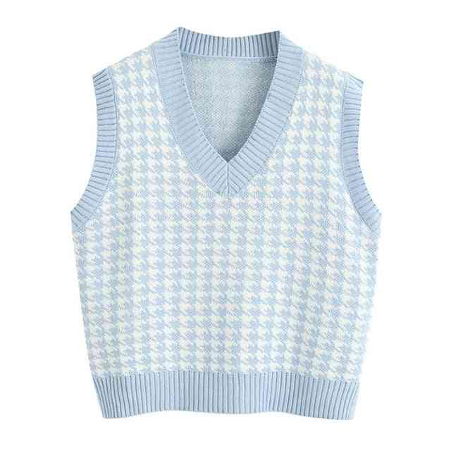Knitted Vest Sweater, V-neck Sleeveless Side Vents Loose Waistcoat