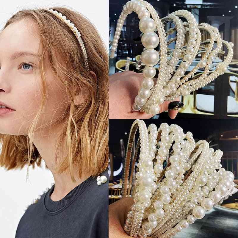 Simulation Pearl Hairbands, Handmade Bow Flower Hoops Ornaments