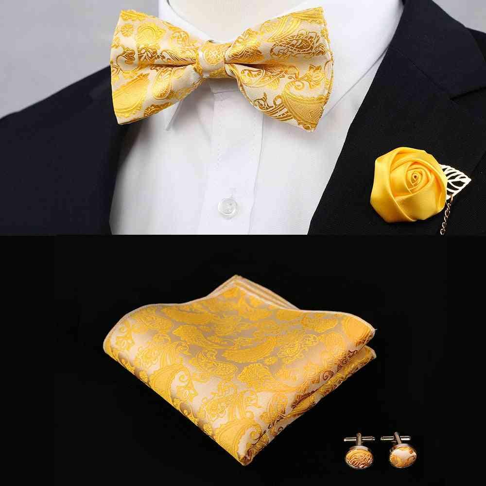 Men's Vintage Wedding Bow Ties, Silk Flower, Pocket Square Handkerchief Set