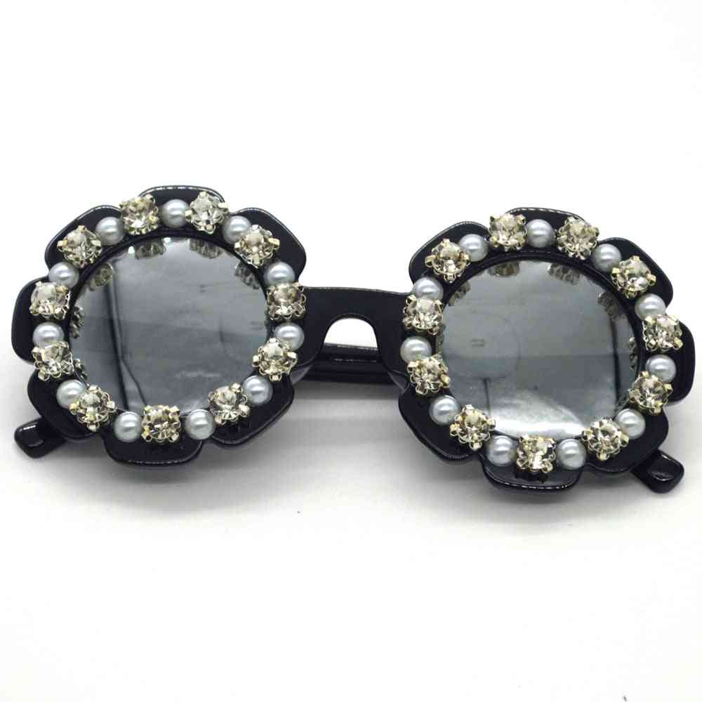 Small Round Shaped, Handmade Diamond Sunglasses