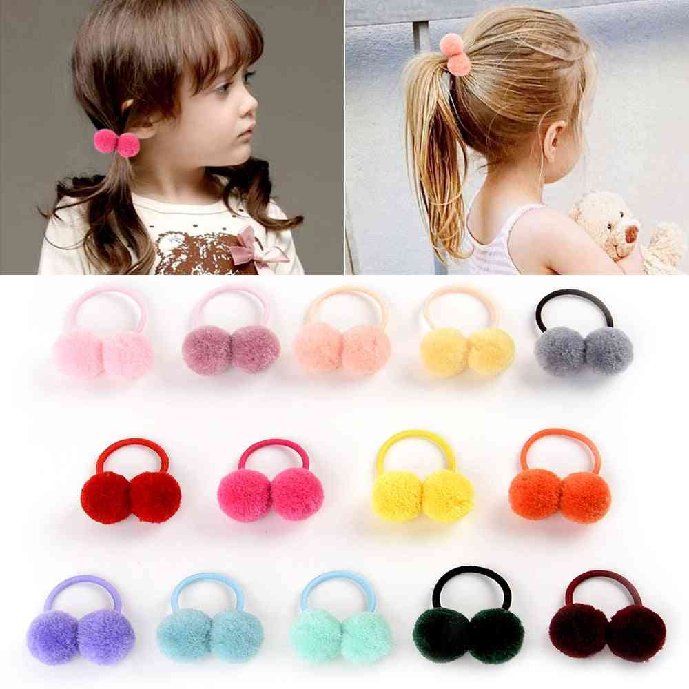 Small Solid Double Fur Ball With Elastic Rope Handmade Hair Band