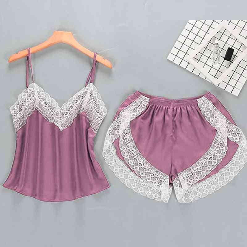 Women Lace Lingerie, Solid Soft Nightwear - 2 Pieces Set