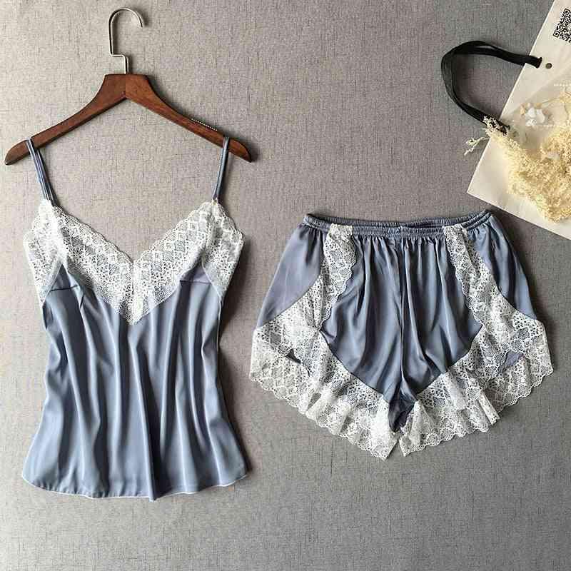 Women's Sleepwear Sexy Set White Lace V-neck Pyjamas Sleeveless