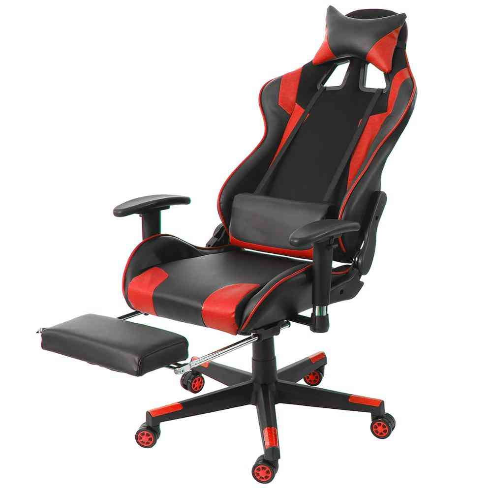 Pu Leather- Reclining Gaming & Swivel Office Armchair With Footrest
