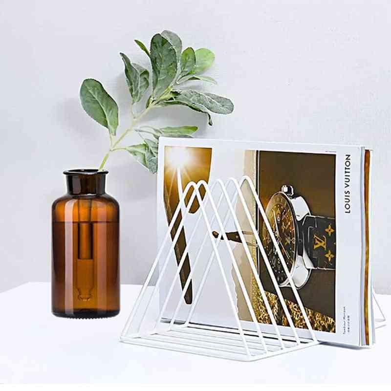 Triangle Simple Wrought Iron Storage Rack For Bookshelf, Magazine, Newspaper