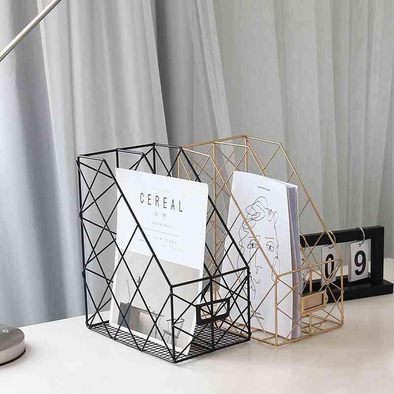 Desktop Metal Shelf Rack Wrought For Documents, Books, Magazines