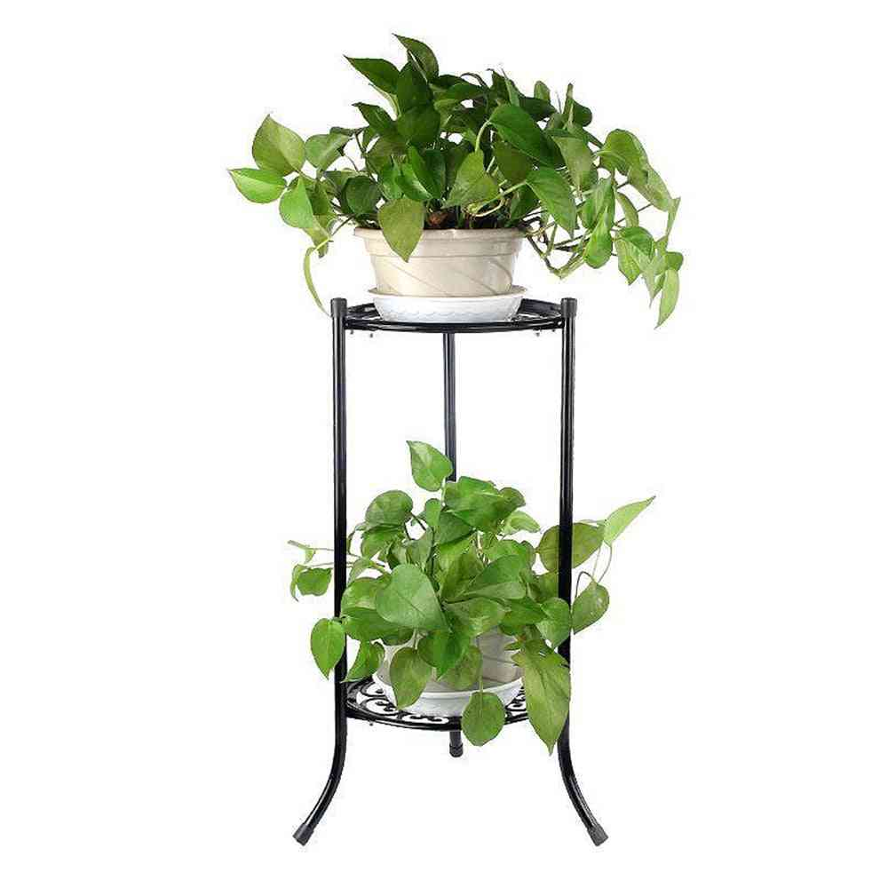 2-holder Flower Stand Metal Plant Pot Stand, Garden Flowers Tray