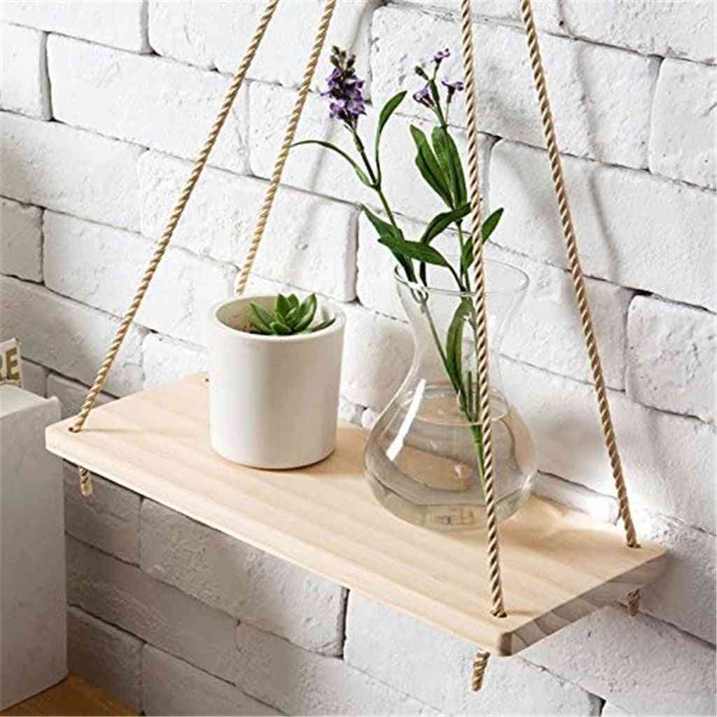 Wooden Swing Rope Wall Hanging Floating Shelves Plant Flower Pots Stand
