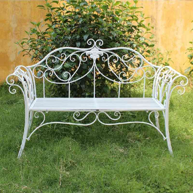 Metal Iron Double Chair-outdoor Leisure Bench