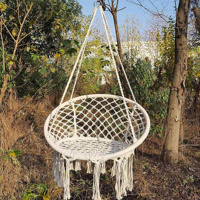 Safe Beige Hanging Chair, Swing Rope For Garden Seat