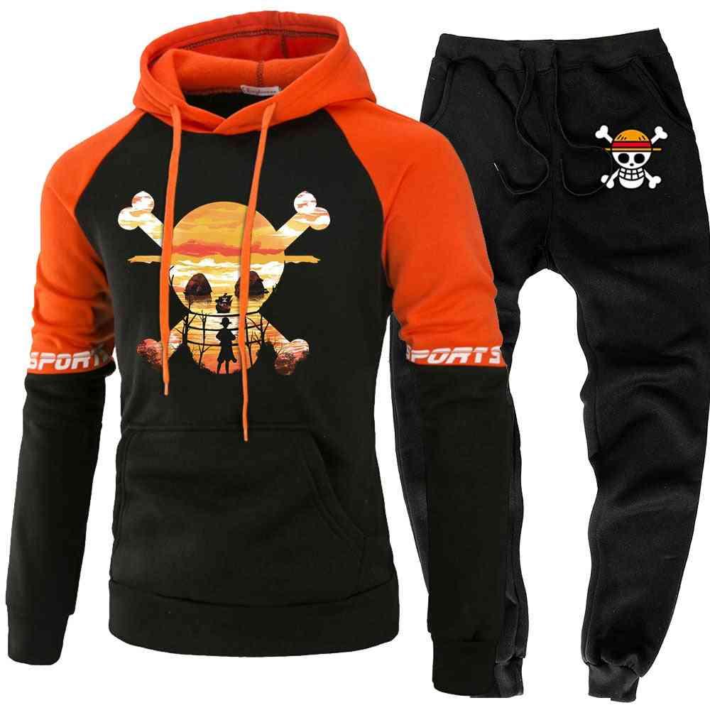 Mens Skull Luffy Hoody Sweatshirt Pant, Autumn/winter Casual 2 Pieces Sweatpants Hoodie