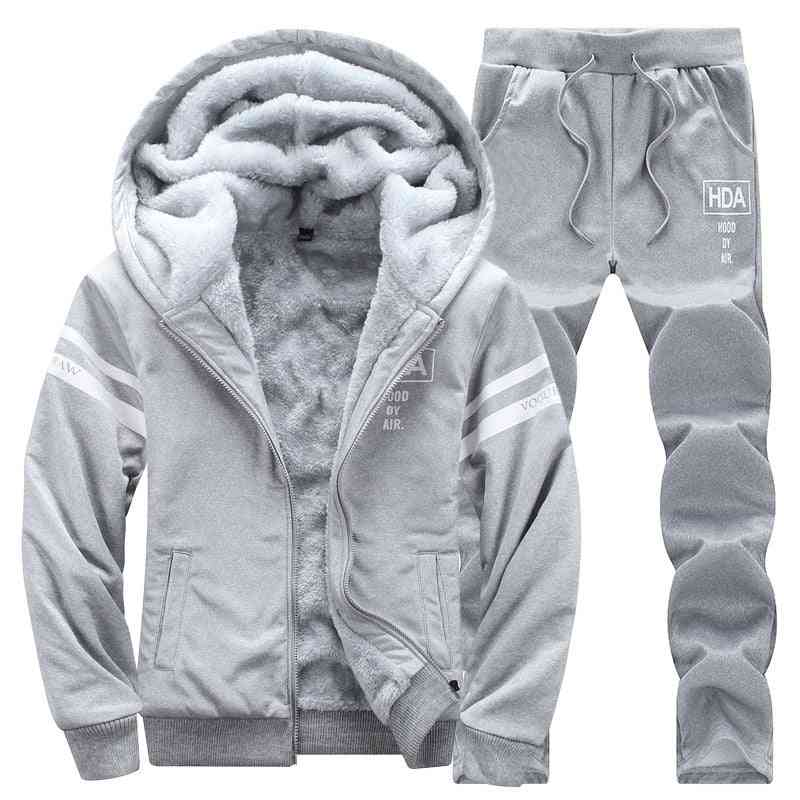 Causal Hooded, Thick Fleece Tracksuits