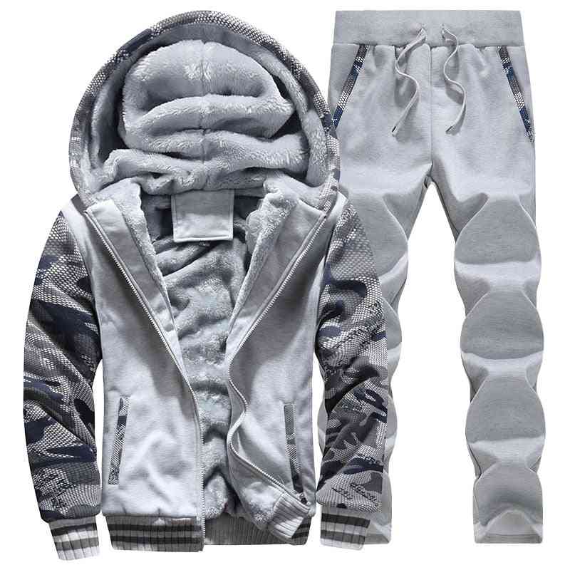 Tracksuit Men Sporting Fleece Thick Hooded Clothing, Jacket & Pant Set