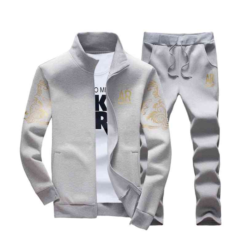 Autumn Sporting Tracksuit, Fitness Stand Collar Sweatshirts Jacket & Pants Sets
