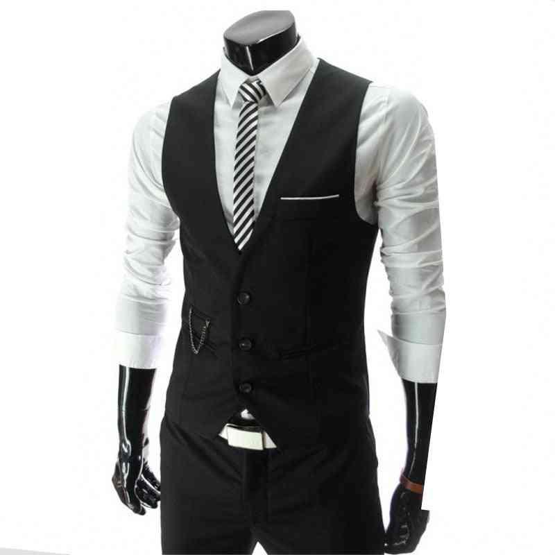 Men Slim Fit Suit Vest, Casual Sleeveless Formal Business Jacket