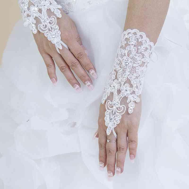 Fingerless- Short Elegant, Rhinestone Bridal, Wedding Gloves