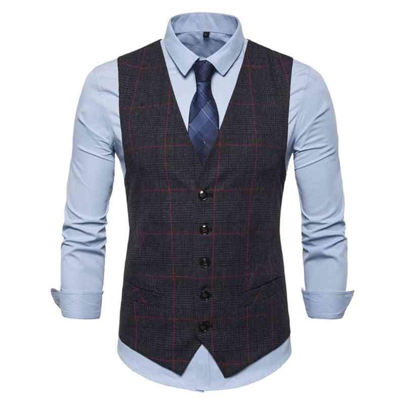 Men's Formal, Plaid Pattern Slim Vests