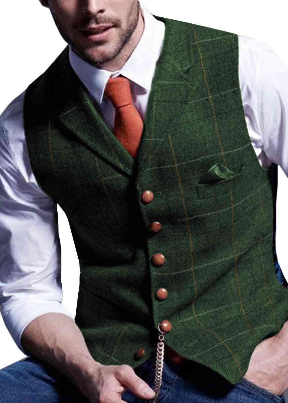 Mens Suit Vest, Notched Plaid Wool Herringbone, Tweed Waistcoat Casual, Formal Business