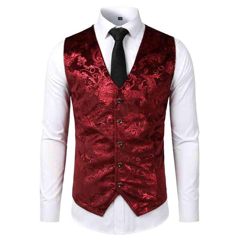 Single Breasted, V-neck Wedding, Suit Vests