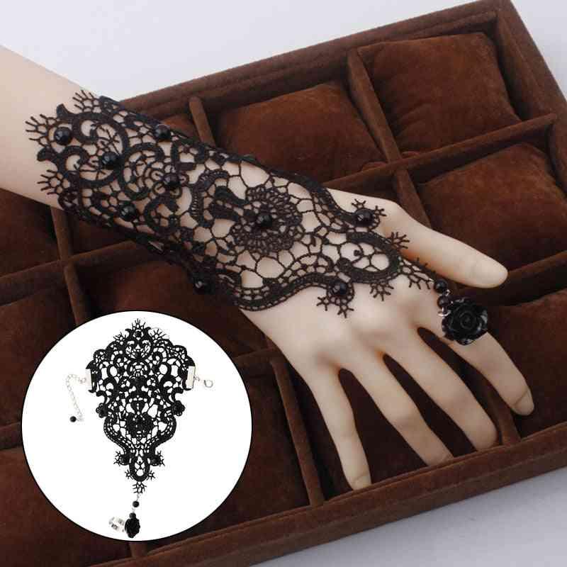 Bride Flower Rose Lace Ribbon Bracelet & Gloves