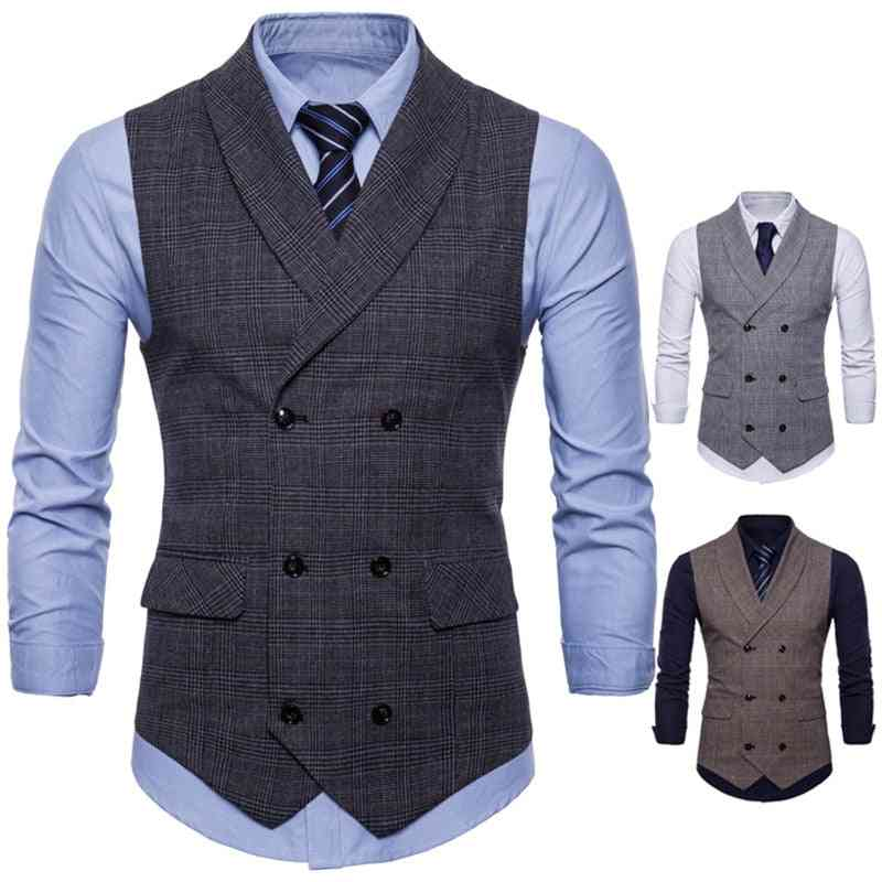 Vest Men Jacket Sleeveless Vintage Tweed Spring / Autumn Waistcoat