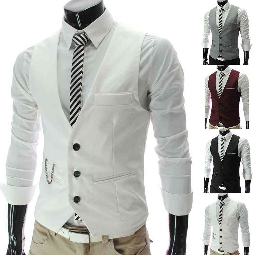 Sleeveless Formal Business Jacket Dress Vest, Men Waistcoat