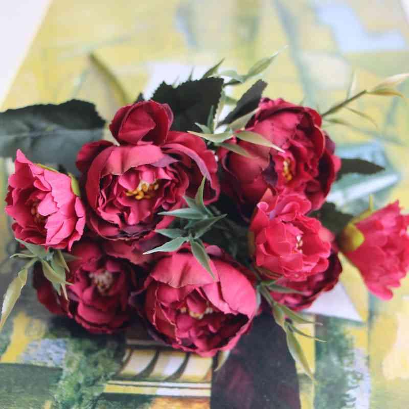 8-heads Silk Artificial Peonies Flowers